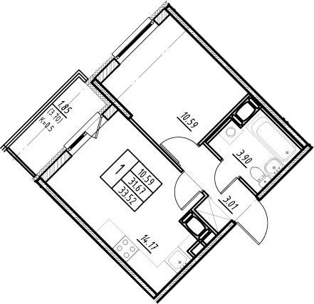 2-к.кв (евро), 35.37 м²