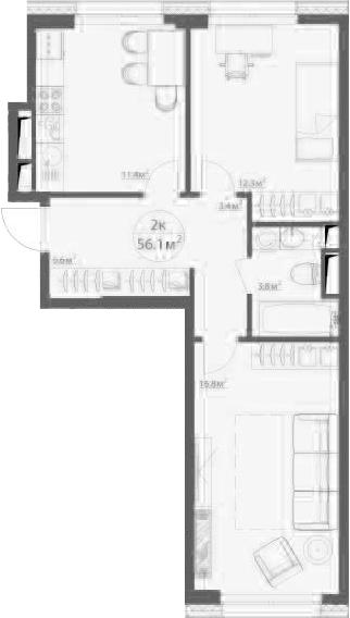 2-к.кв, 56.4 м²