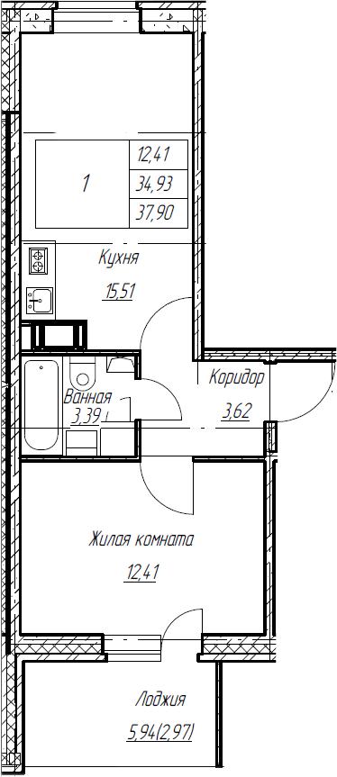 2Е-к.кв, 37.9 м², от 5 этажа