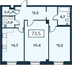 2-к.кв, 73.47 м²