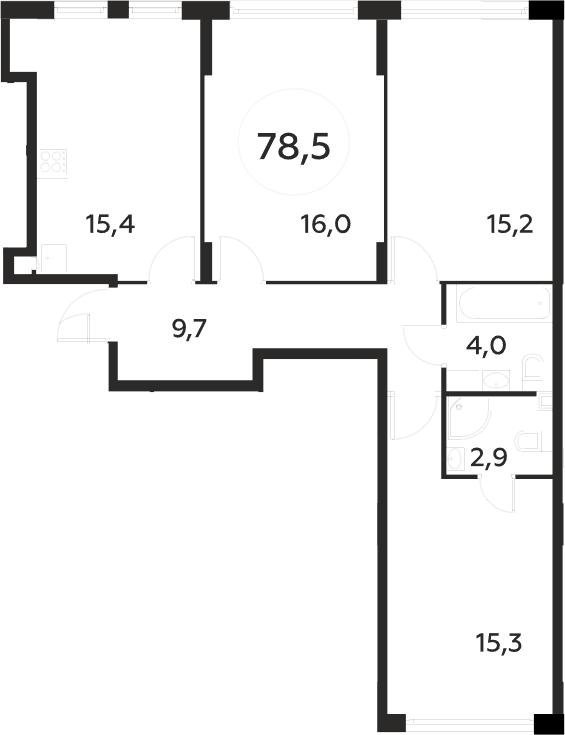 3-к.кв, 78.5 м²