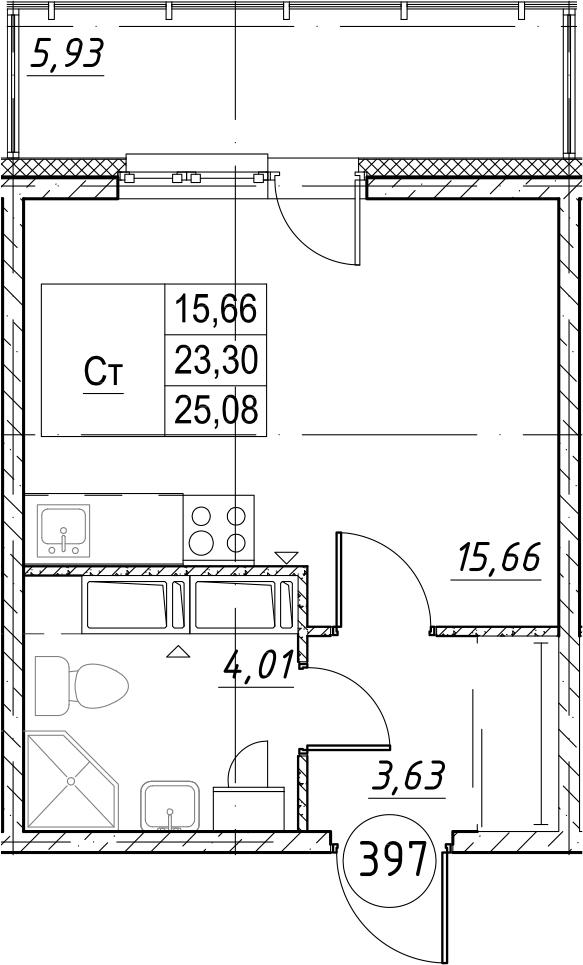 Студия, 29.23 м²