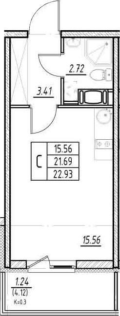 Студия, 21.69 м²– 2