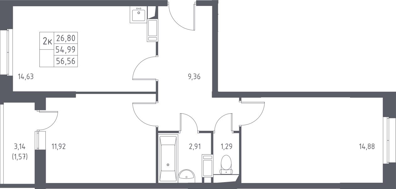 2-комнатная, 56.56 м²– 2