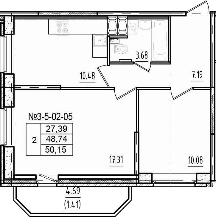 2-к.кв, 53.43 м²
