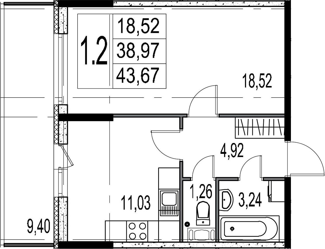 1-к.кв, 48.37 м²