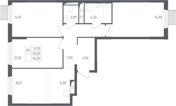 4-к.кв (евро), 76.29 м²
