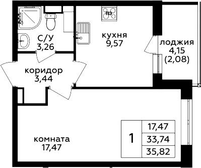 1-комнатная, 35.82 м²– 2