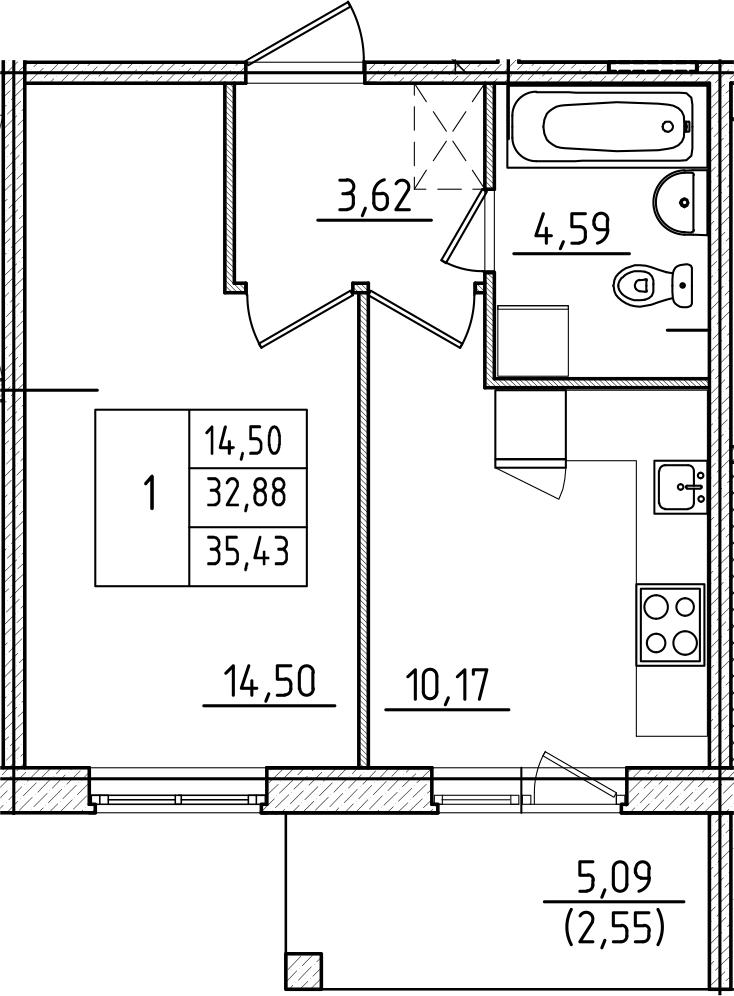 1-комнатная, 35.43 м²– 2