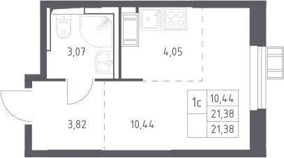 Студия, 21.38 м², 16 этаж