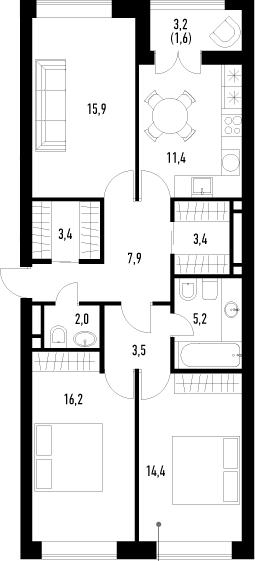 3-комнатная, 84.9 м²– 2