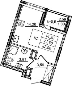 Студия, 22.9 м², от 3 этажа