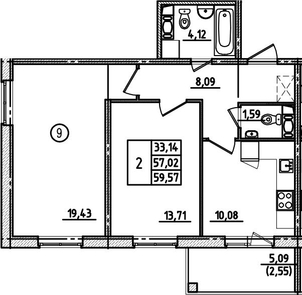 2-к.кв, 59.57 м², от 2 этажа