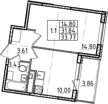 1-к.кв, 31.84 м²