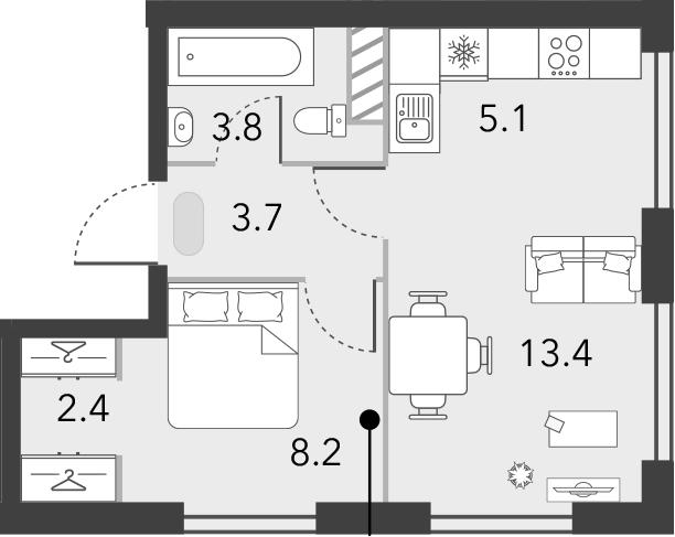 2Е-к.кв, 36.6 м², 13 этаж