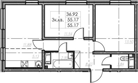 3Е-комнатная, 55.17 м²– 2