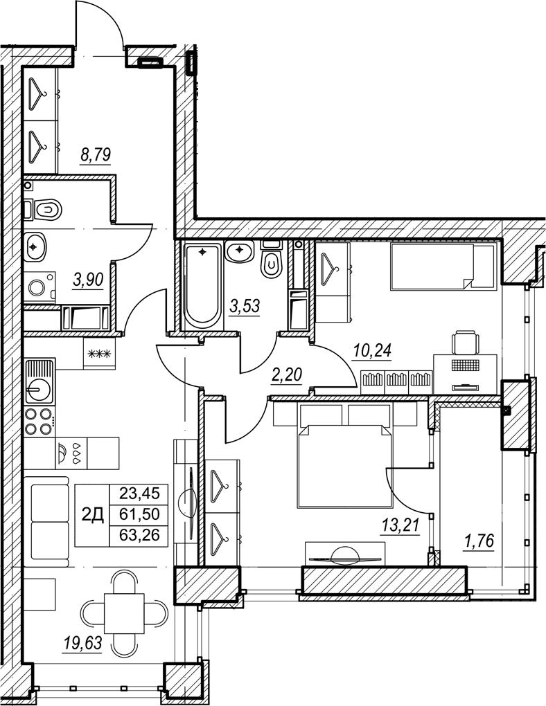 2-комнатная, 63.26 м²– 2