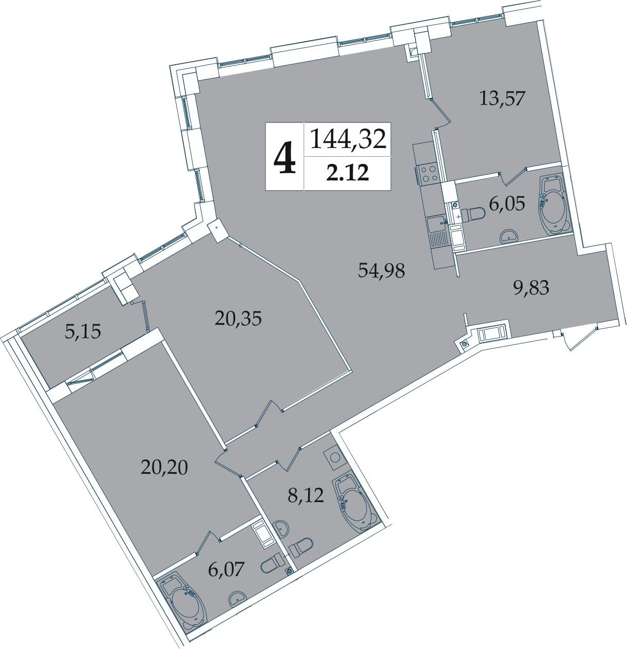 4-к.кв (евро), 144.32 м²