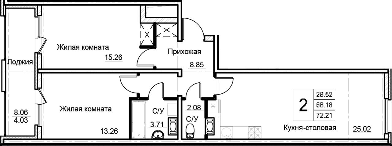 3Е-к.кв, 72.21 м², от 3 этажа