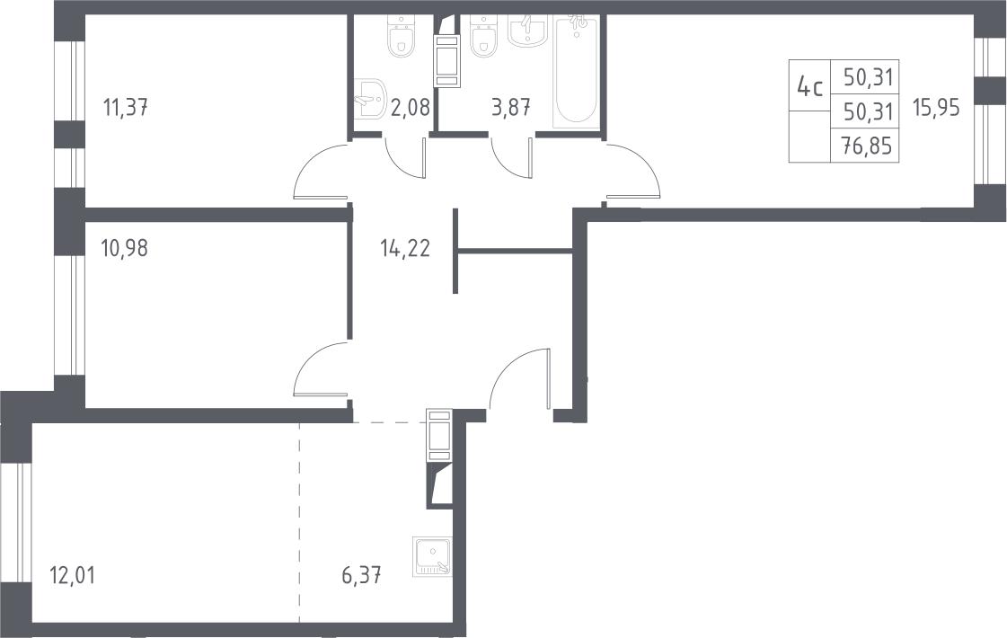 4Е-комнатная, 76.85 м²– 2