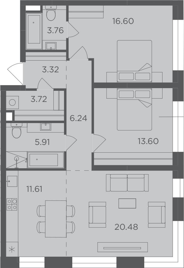 3-к.кв, 85.24 м², 3 этаж