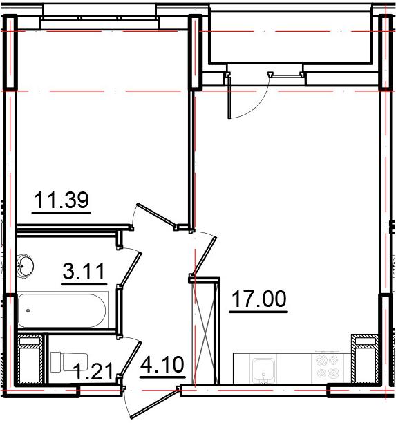 2Е-к.кв, 38.31 м², от 8 этажа
