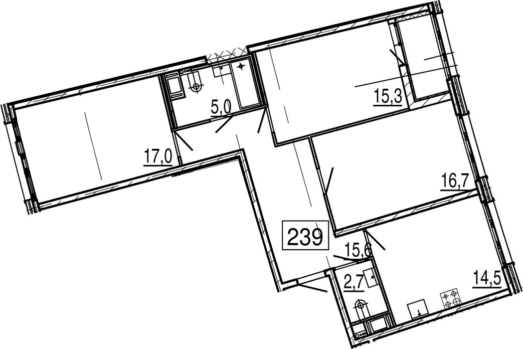 3-к.кв, 88.4 м², 11 этаж