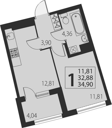 1-к.кв, 36.92 м²
