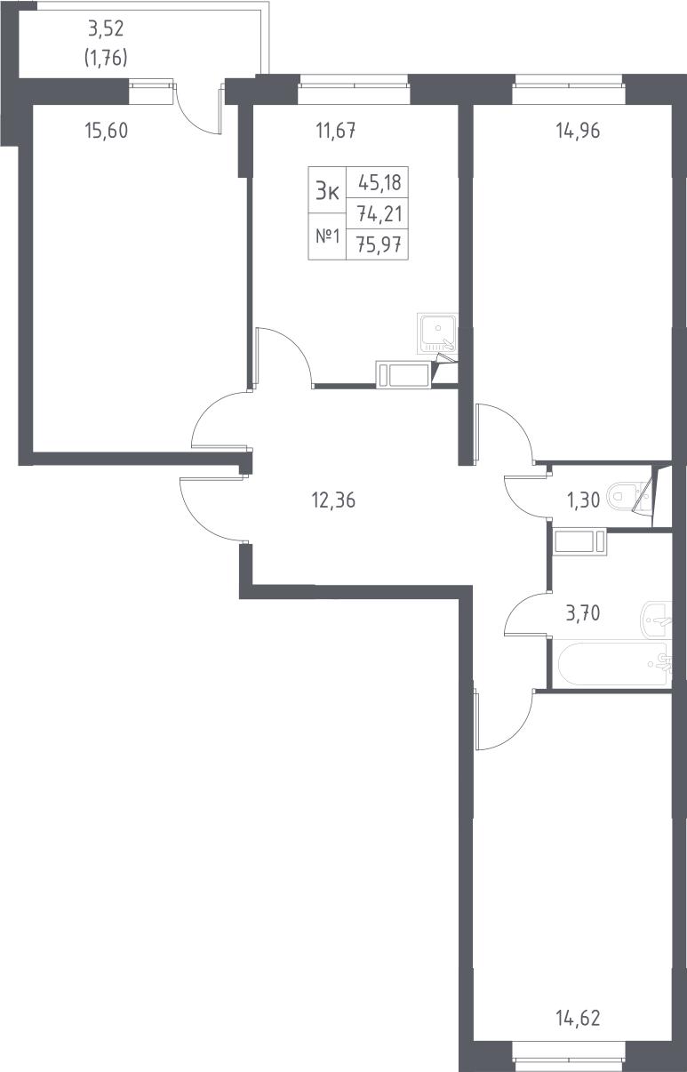 3-комнатная, 75.97 м²– 2