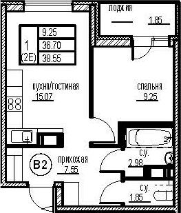2Е-комнатная, 38.55 м²– 2