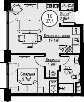2Е-к.кв, 37.4 м²