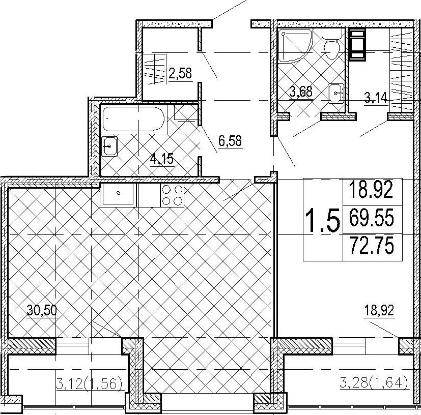 2Е-комнатная, 72.75 м²– 2