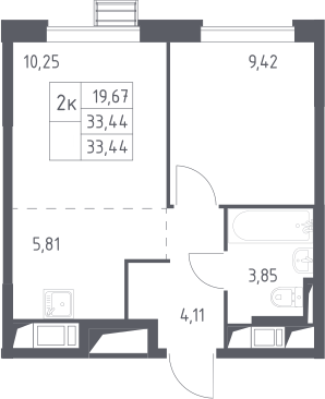 2-к.кв (евро), 33.44 м²