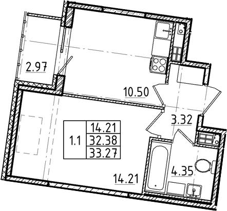1-комнатная, 32.38 м²– 2