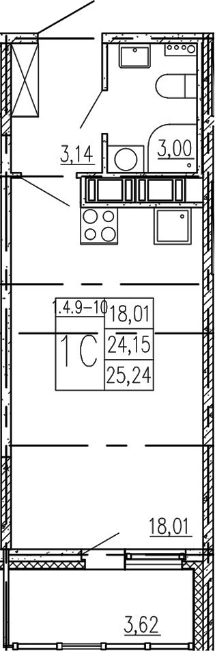 Студия, 24.15 м²