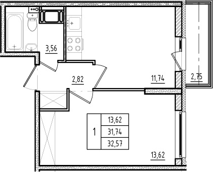 1-комнатная, 31.74 м²– 2