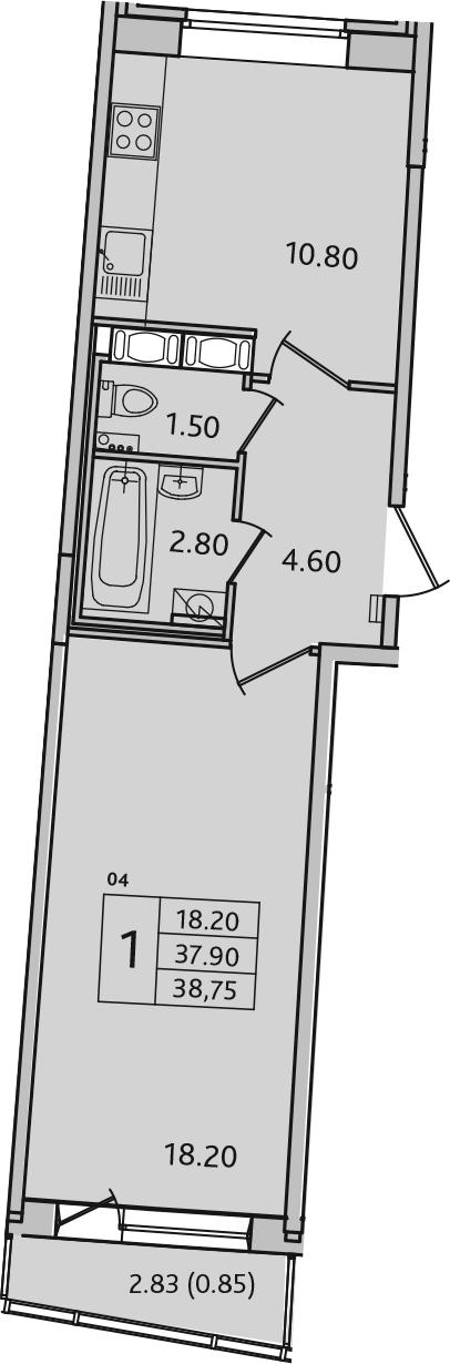 1-комнатная, 38.75 м²– 2