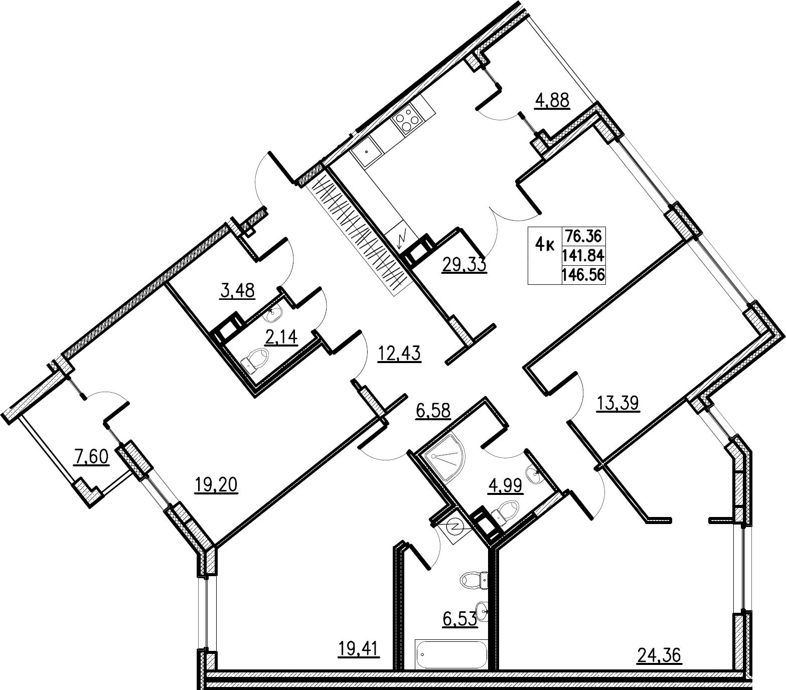 5Е-комнатная, 146.56 м²– 2