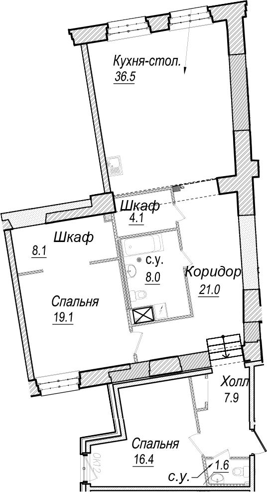 3-к.кв (евро), 122.7 м²