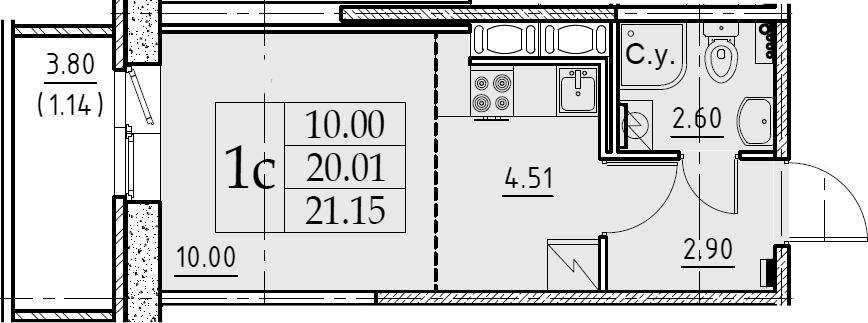 Студия, 21.15 м², от 8 этажа