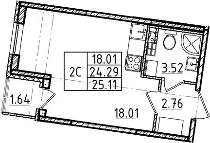 Студия, 24.29 м², 3 этаж