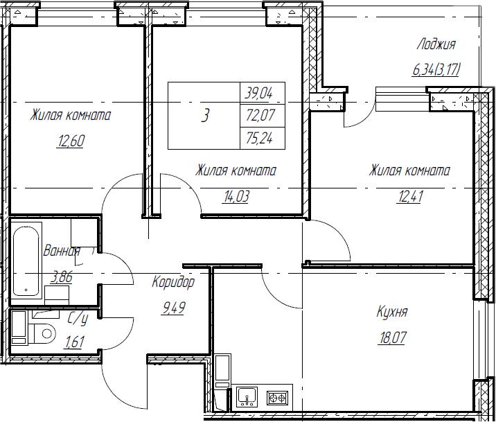 4Е-к.кв, 75.24 м², от 3 этажа
