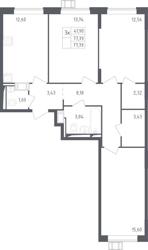 3-комнатная, 77.39 м²– 2
