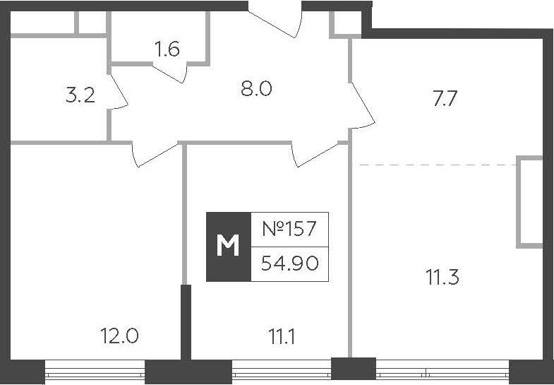 3-к.кв (евро), 54.9 м²