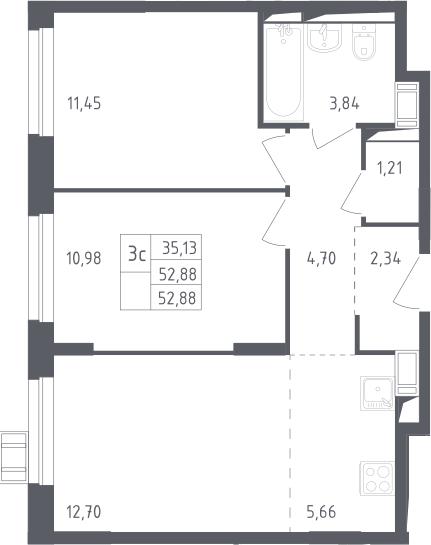 3Е-к.кв, 52.88 м², 14 этаж