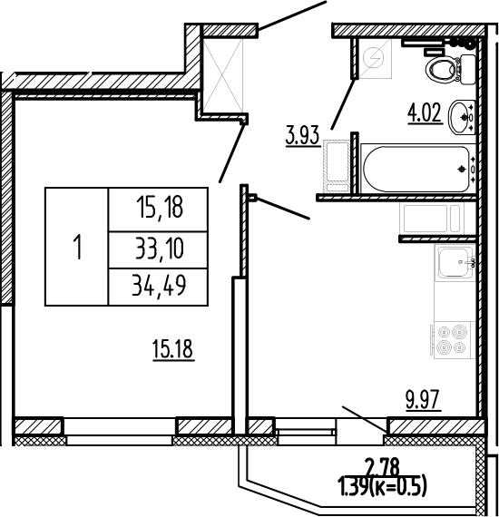 1-комнатная, 34.49 м²– 2
