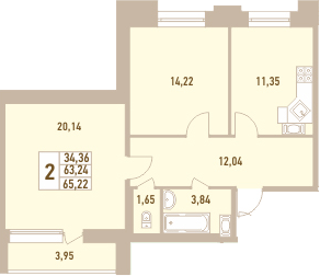 2-комнатная, 65.22 м²– 2