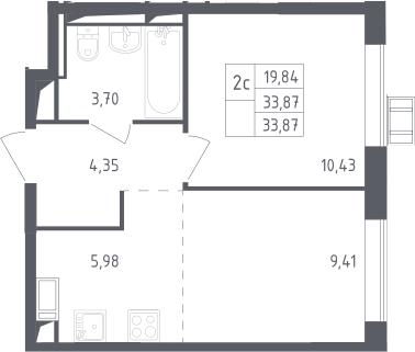 2Е-к.кв, 33.87 м², 16 этаж
