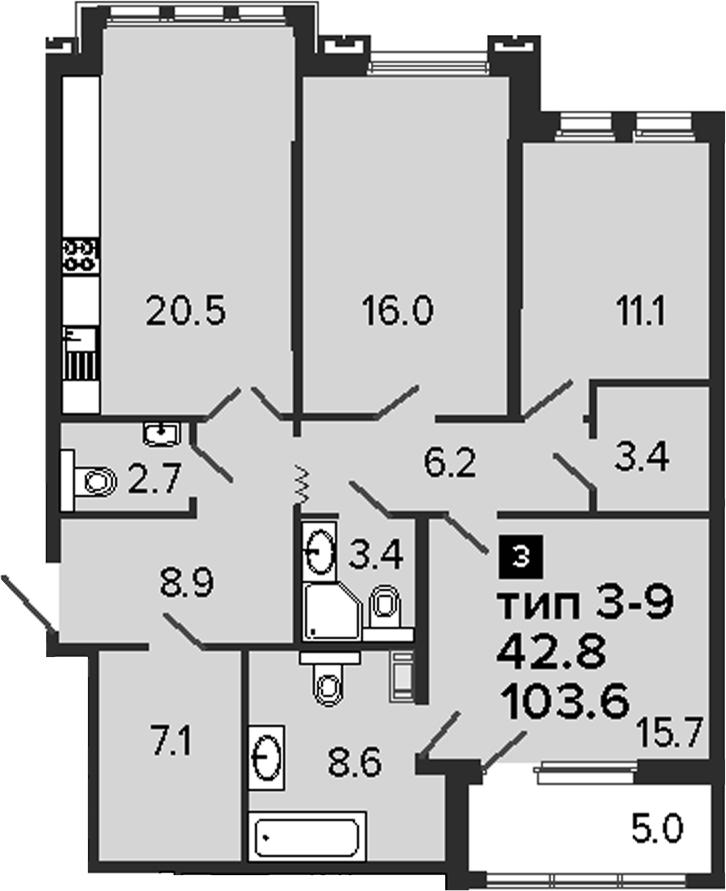 3-к.кв, 103.6 м²