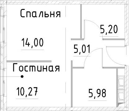 1-к.кв, 40.45 м², от 15 этажа